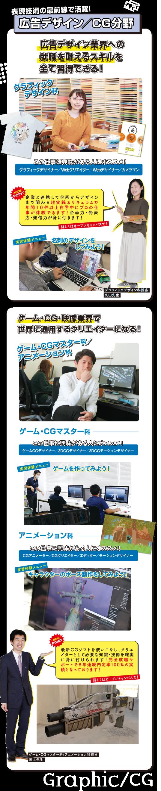 広告デザイン/CG分野 グラフィックデザイン科、ゲーム・CGマスター科、アニメーション科