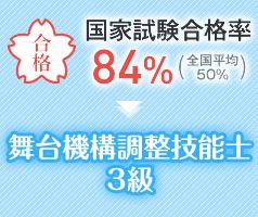 国家試験合格率84% 舞台機構調整技能士3級